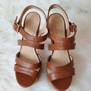 Shi by Journey brown leather strappy cork heel 7.5